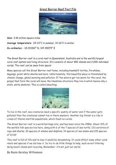 Rosie K.W's Great Barrier Reef Factfile