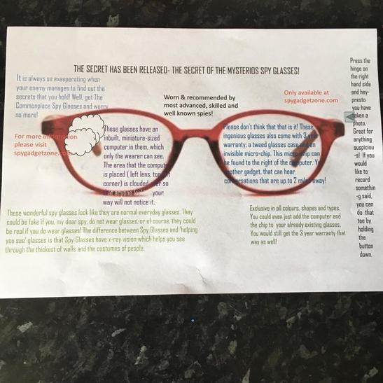 Izzy's spy glasses advert