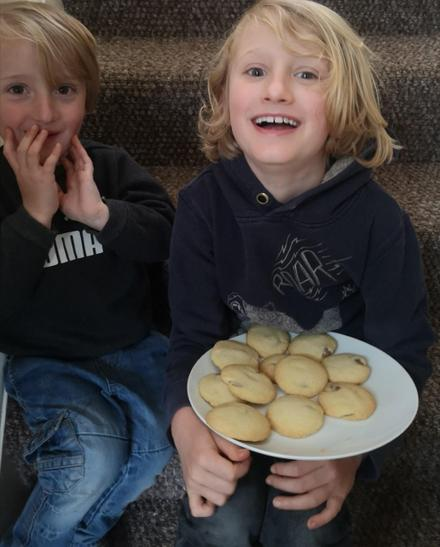 Finley and Milo baking biscuits