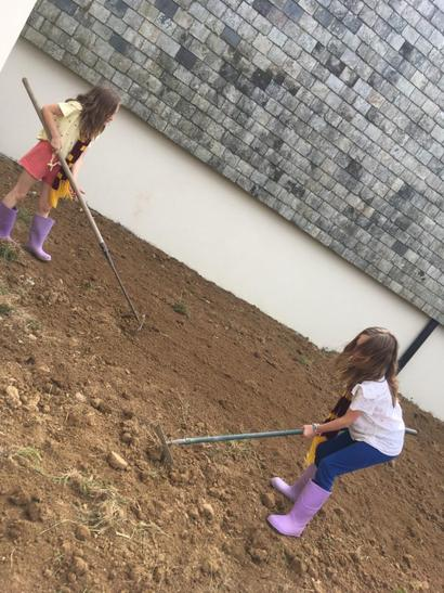 Erin and Ellie helping dad tidy!