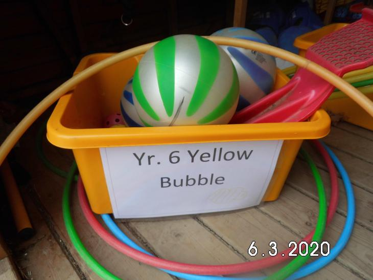 Box of equipment for Year 6 Yellow Bubble