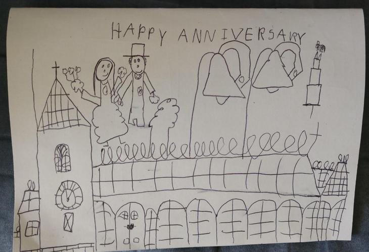 Alex's anniversary card for his mum and dad