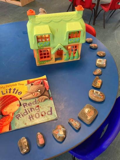 We used Story Stones to retell the Story during our play