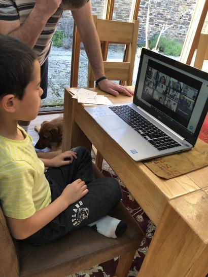 Connor talking to his year 2 friends through Zoom!