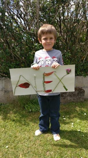 Alex using natural materials
