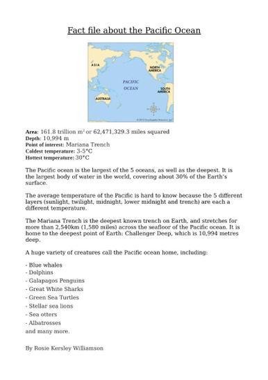 Rosie K.W's Pacific Ocean Factfile
