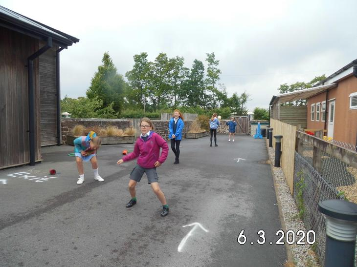 Year 6 bubble - social distancing at lunch time
