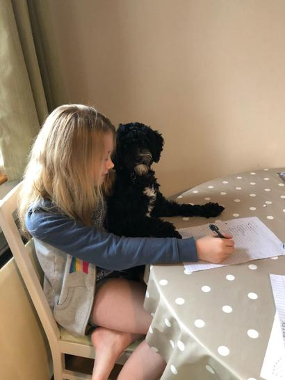 Teddy helping Alexia do her spelling test