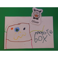 Oliver drew and labelled a picture.