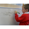 Writing on the whiteboards.