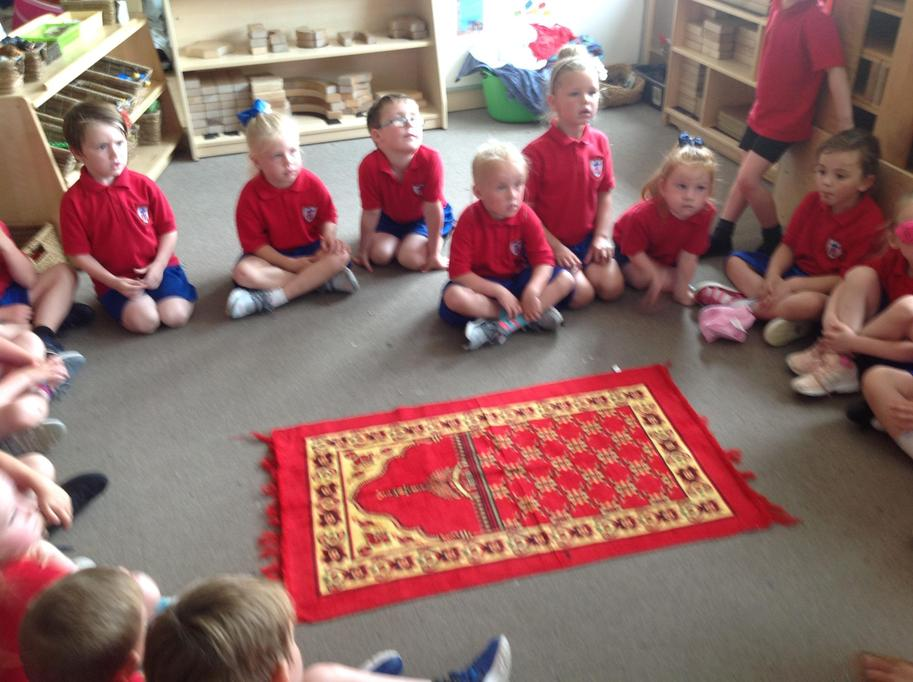 We looked at the prayer mat.