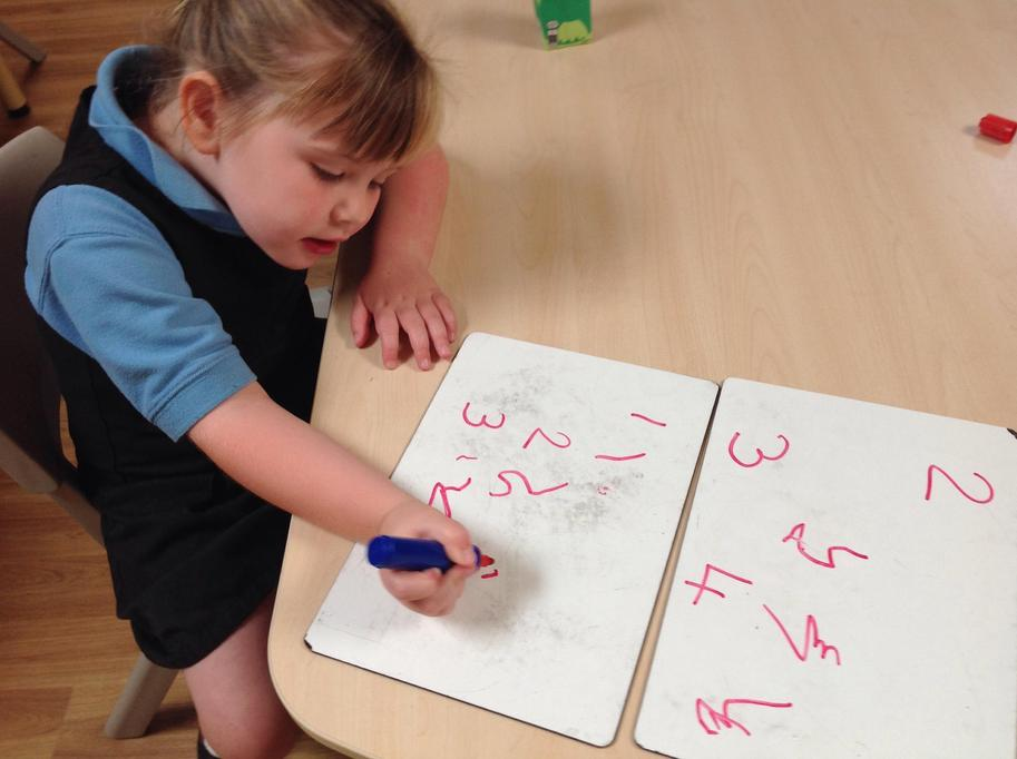 Practicing writing numbers