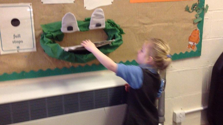 Feeding Fred the frog!