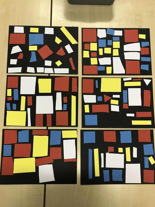 Children's work based on the work of Piet Mondrian