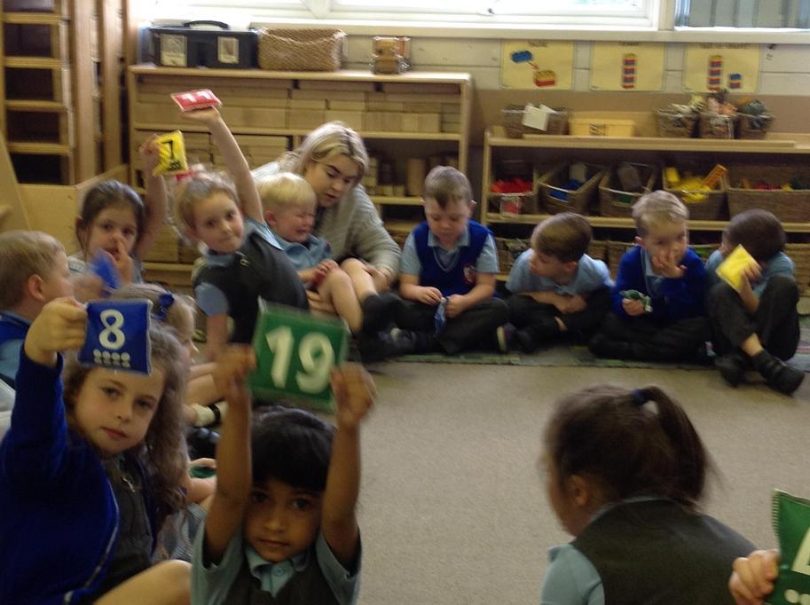 We each had a number bean bag!