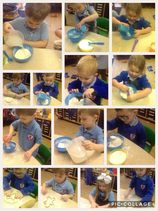 We had to measure flour salt and water.