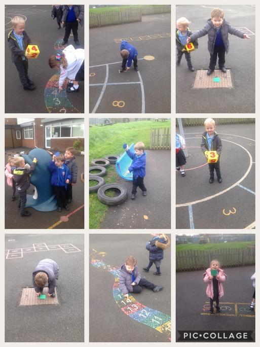 Finding numbers and shapes around school.