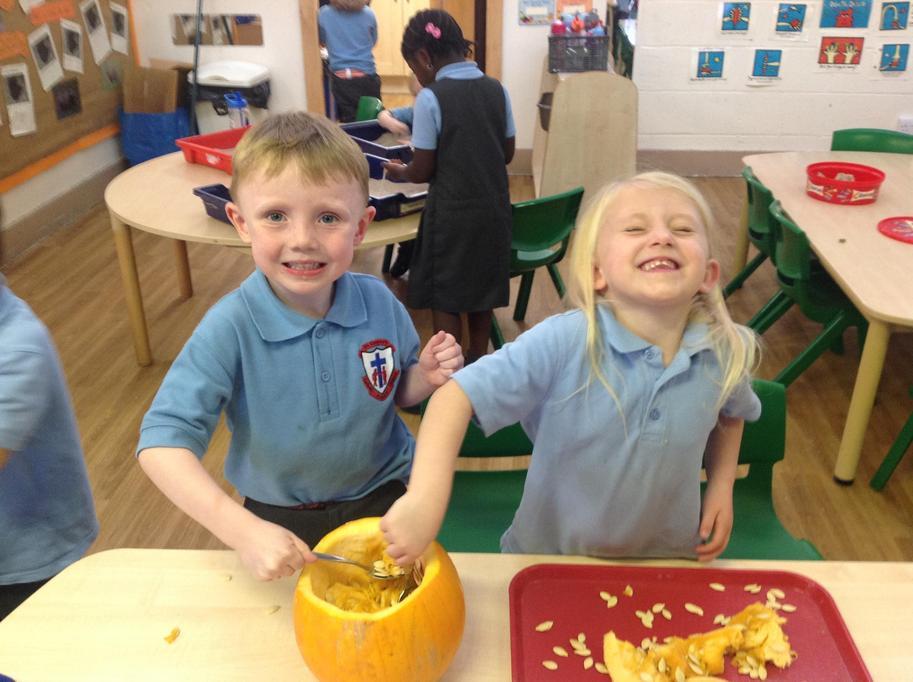 Halloween-carving pumpkins!
