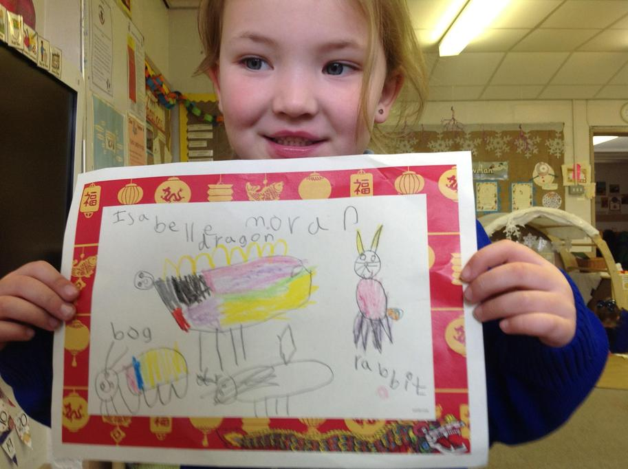 Isabelle drew a dragon.