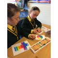 Easter cards using oil pastels & colour wheels