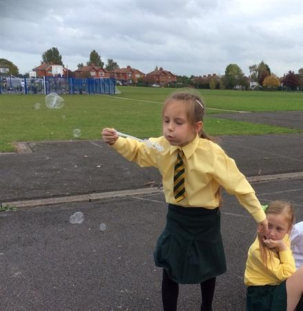 Watching bubbles of worry fly away and pop!