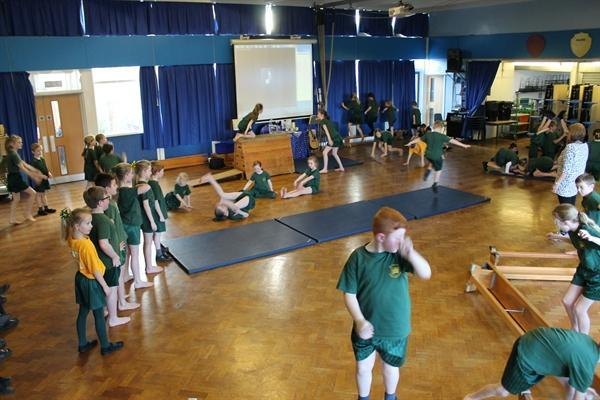 Year 3 & Year 5 Gymnastics Lesson together