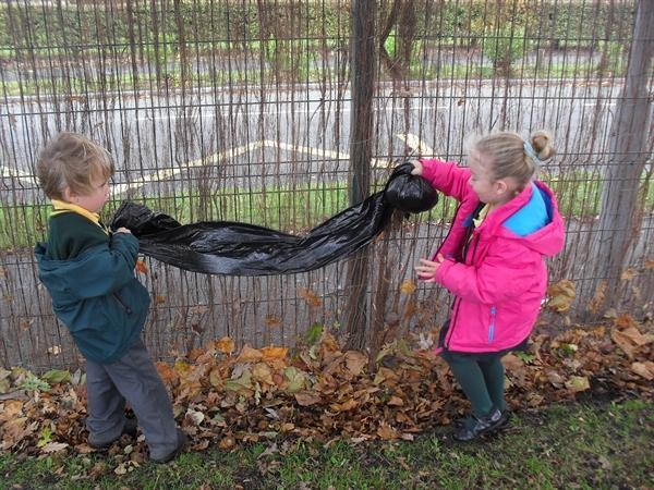Having fun together making our giant spider!