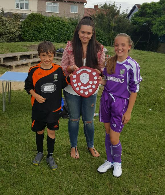 Team captains Tom and Millie with Beckie Eustace.