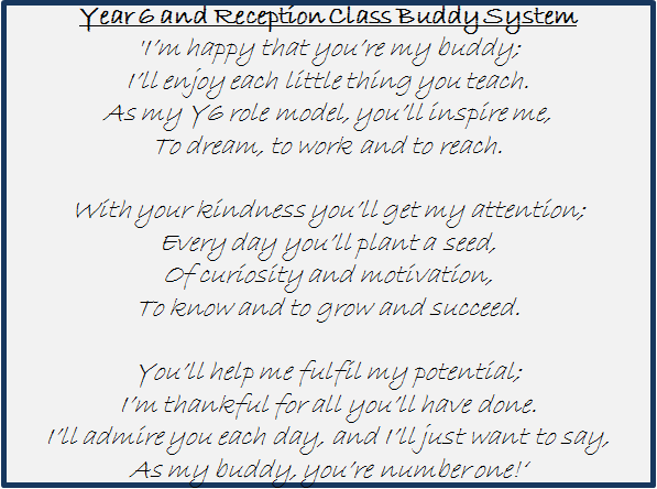 A Poem for our Year 6 & Reception Class Buddies