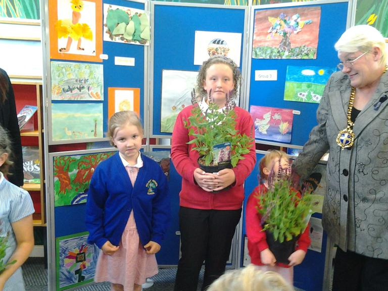 Abigail won plants for school
