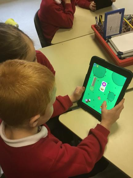 We used the iPads to practise programming.