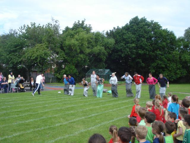 Lots of parents took part in the sack race