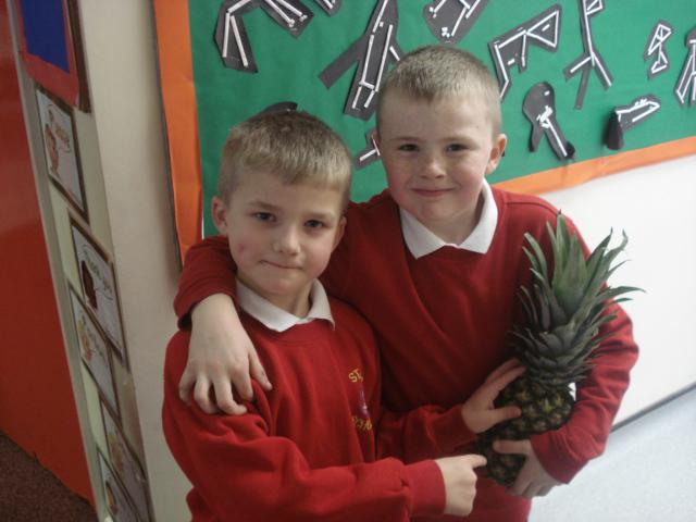 Charlotte gave us a pineapple to take to school