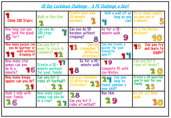 Why not try to complete the 30 day fitness challenge?