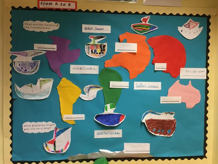 Our wonderful world map! We made the shapes of the continents and labelled the seas too!