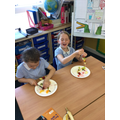 We made delicious fruit kebabs