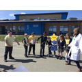 Using a rope, we demonstrated the push of electrons reaching a bulb almost instantly.