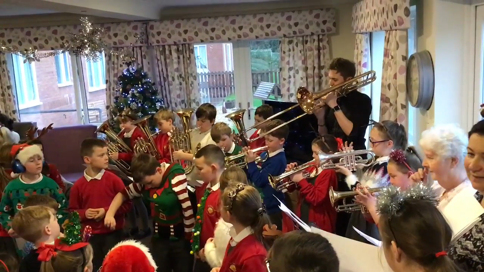 KS2 performing, 'Mamma Mia' at the local care home