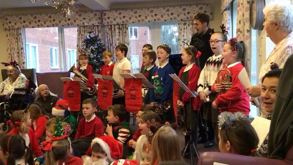KS2 singing to residents at the local care home