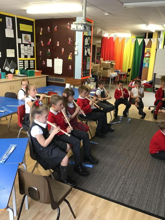 Year 2 learning to play the recorder