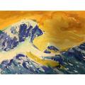 Pieta, from Year 6, painted a fantastic Hokusai wa
