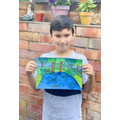 Ollie with his incredible Monet drawing.