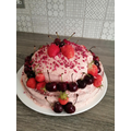 Red fruit cake - home grown strawberries