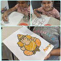 Aanya used lentils to make the picture of a god.
