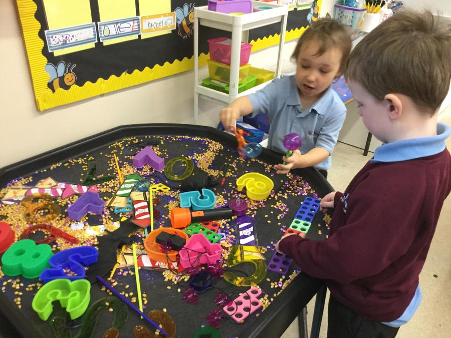 Exploring firework themed sensory tray