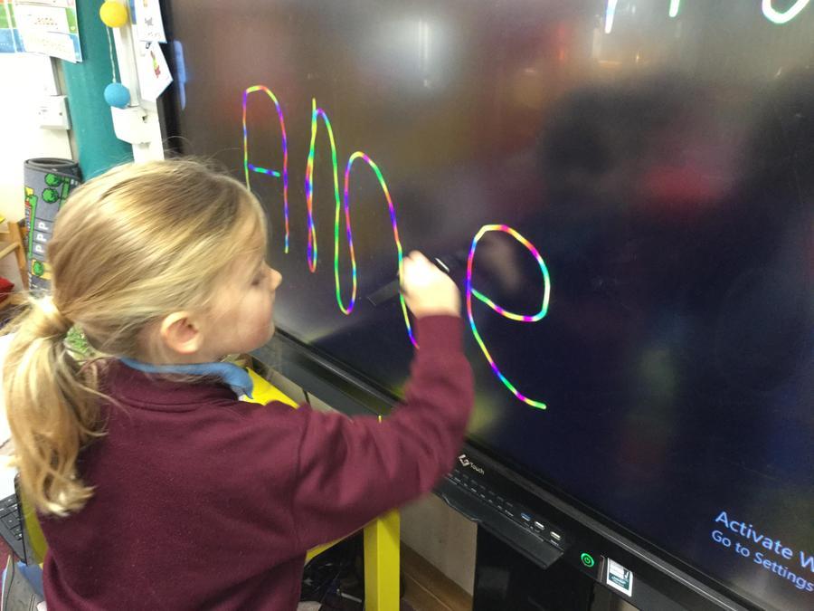 Name practise using the rainbow pen