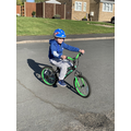Aiden's been perfecting his riding skills