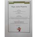 Jack's menu for 'Cook a meal for your family'