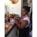 Thandie cooking in the kitchen!