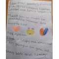 Faridat's thank you note